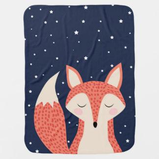 Sleeping fox night stars baby blanket