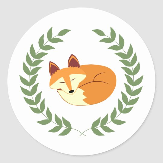 Sleeping Fox with Laurel Wreath Classic Round Sticker