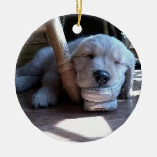 Sleeping Golden Retriever Puppy--Merry Christmas Round Ceramic Decoration