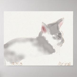 Sleeping Gray Cat Poster