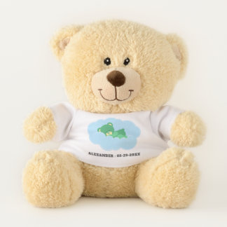 Sleeping Green Teddy Bear with Name and Date