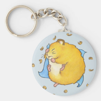 Sleeping Hamster Ted Basic Round Button Key Ring