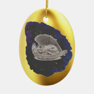 Sleeping Hatchling Winged Cat Christmas Ornament