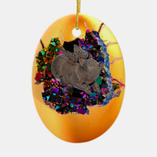 Sleeping Hatchling Winged Pig Christmas Ornament