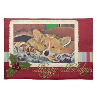 Sleeping Holiday Tricolor Corgi Placemat