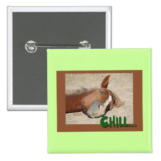 Sleeping  Horse Smile: Chill 15 Cm Square Badge