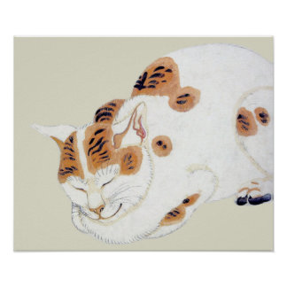 Sleeping Japanese Cat Art Poster Print