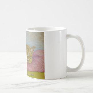 Sleeping kitten basic white mug