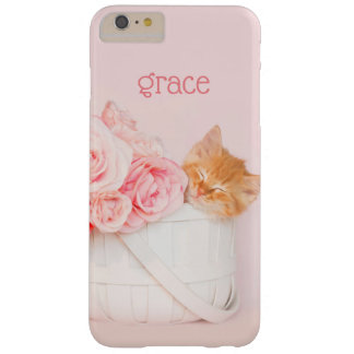 Sleeping Kitten Pink Roses Barely There iPhone 6 Plus Case
