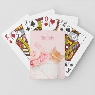 Sleeping Kitten Pink Roses Playing Cards