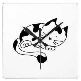 Sleeping Kitten Square Wall Clock