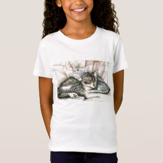 """Sleeping Kittens"" Cat Art T shirt"
