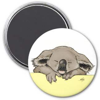 Sleeping koala 7.5 cm round magnet