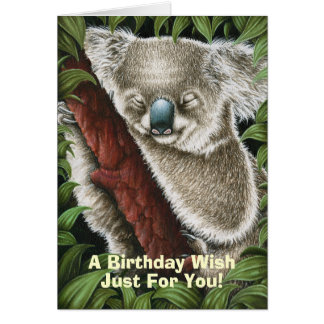 Sleeping Koala Birthday Card