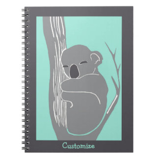 Sleeping Koala Custom Mint and Grey Notebook