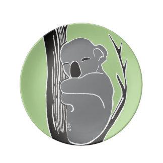 Sleeping Koala Green Decorative Porcelain Plate