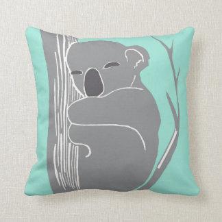 Sleeping Koala Grey and Mint Pillow