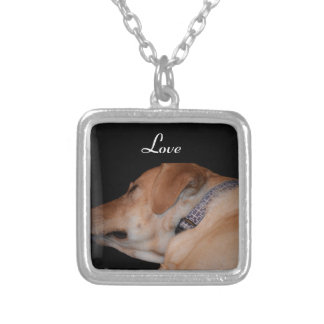 Sleeping Labrador Retriever Silver Plated Necklace