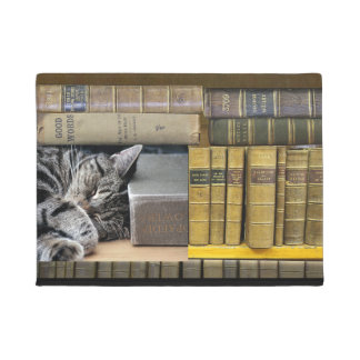 Sleeping Library Book Cat Doormat