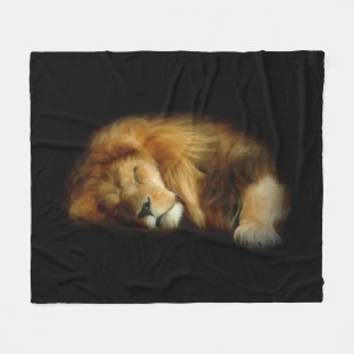 Sleeping Lion Fleece Blanket