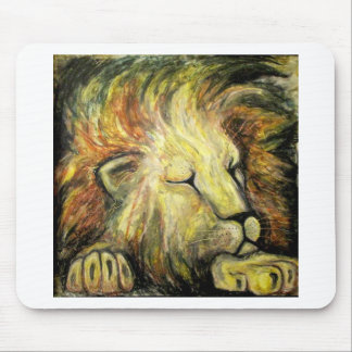 Sleeping Lion Oil Painting Mouse Pad