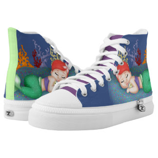 Sleeping Merbaby High Tops Printed Shoes