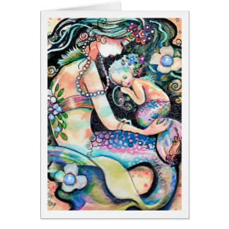 Sleeping Mom and child Mermaids Card