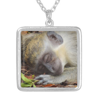 Sleeping Monkey Silver Plated Necklace