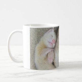 Sleeping mum and baby ferret mug