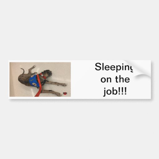 Sleeping on the job bumper sticker