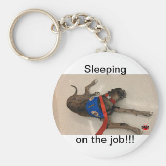 Sleeping on the job basic round button key ring