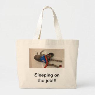 Sleeping on the job canvas bag