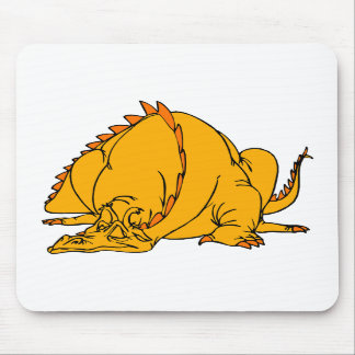 Sleeping Orange Dragon Mouse Pads
