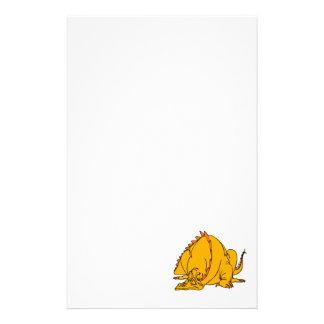 Sleeping Orange Dragon Personalized Stationery