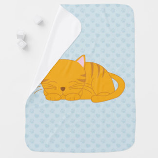 Sleeping Orange Tabby Cat Baby Blankets