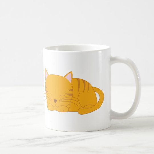 Sleeping Orange Tabby Cat Coffee Mug