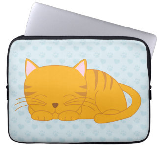 Sleeping Orange Tabby Cat Laptop Sleeve
