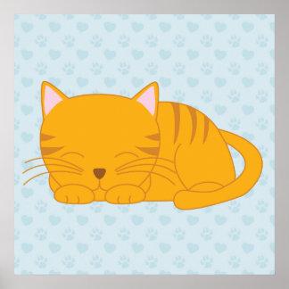 Sleeping Orange Tabby Cat Print