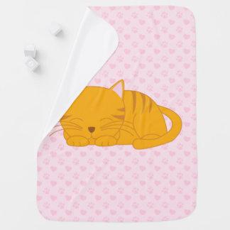 Sleeping Orange Tabby Cat Receiving Blankets