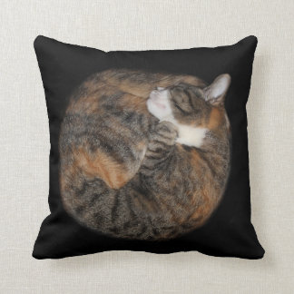 Sleeping patched tabby throw pillow