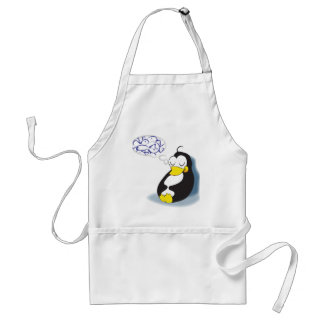 sleeping penguin dreaming about fish apron