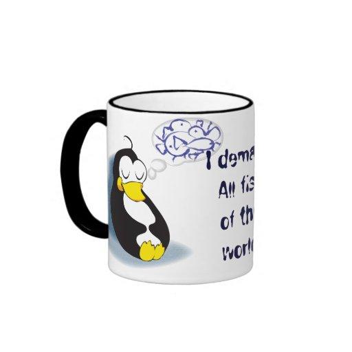 sleeping penguin dreaming about fish tea cup ringer mug