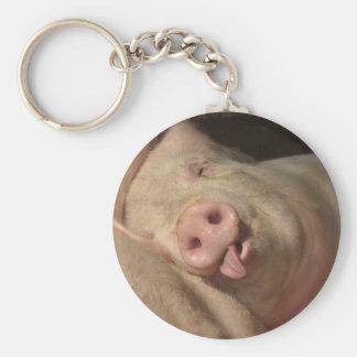 Sleeping Pig Basic Round Button Key Ring