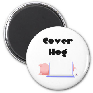 Sleeping Pig Blue Blanket Cover Hog Fridge Magnet