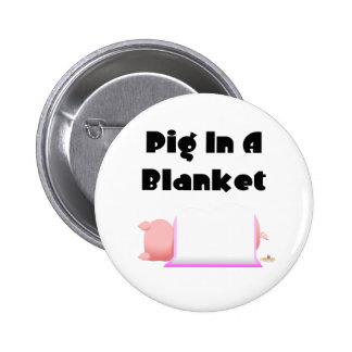 Sleeping Pig Pink Blanket Pig In A Blanket 6 Cm Round Badge