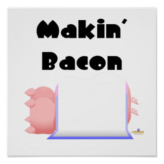 Sleeping Pigs Blue Pink Blanket Makin' Bacon Poster