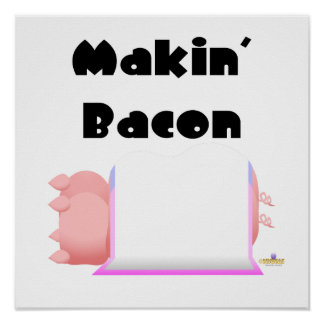 Sleeping Pigs Pink Blue Blanket Makin' Bacon Poster