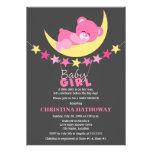 Sleeping Pink Girl Teddy Bear on Moon Baby Shower Invites
