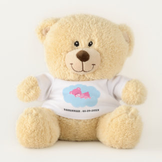 Sleeping Pink Teddy Bear with Name and Date