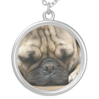 Sleeping Pug Dog Necklace
